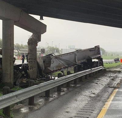 I-20 shut down after semi hits beam