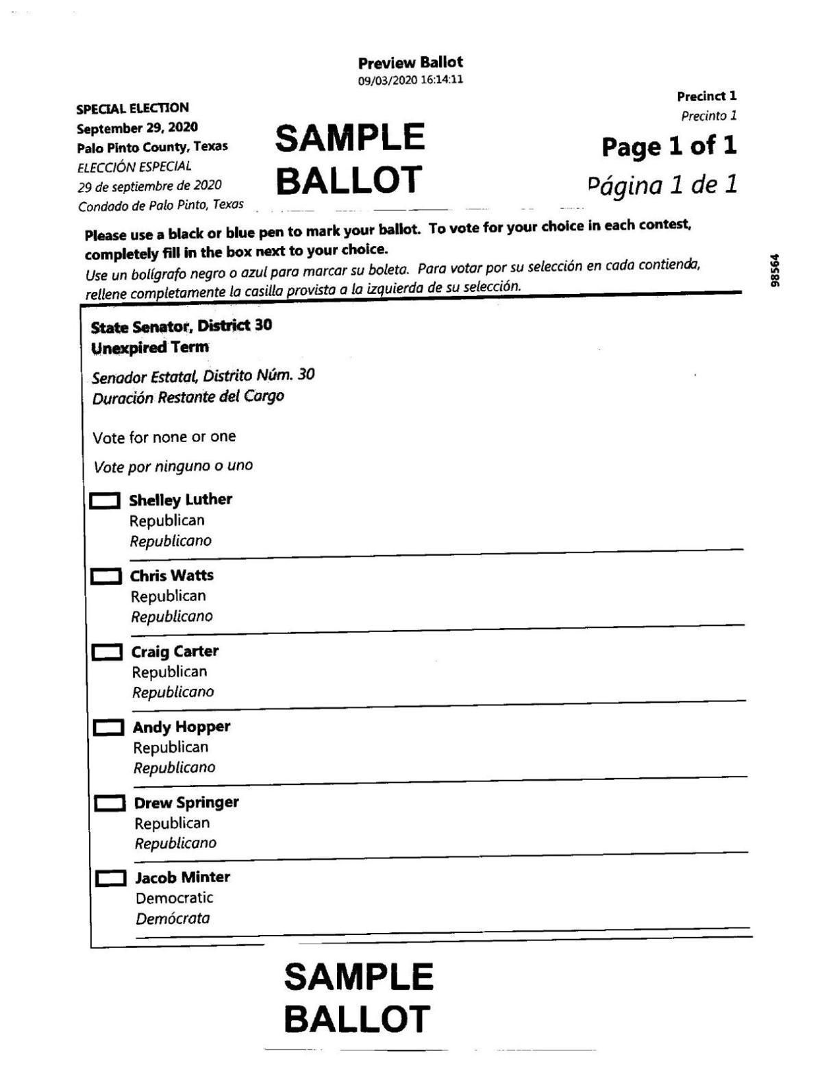PDF: Palo Pinto County sample ballot