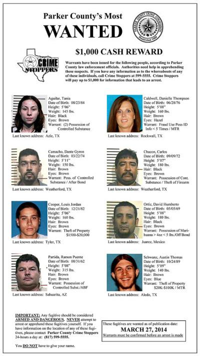Parker County Crime Stoppers' Most Wanted – April 2014