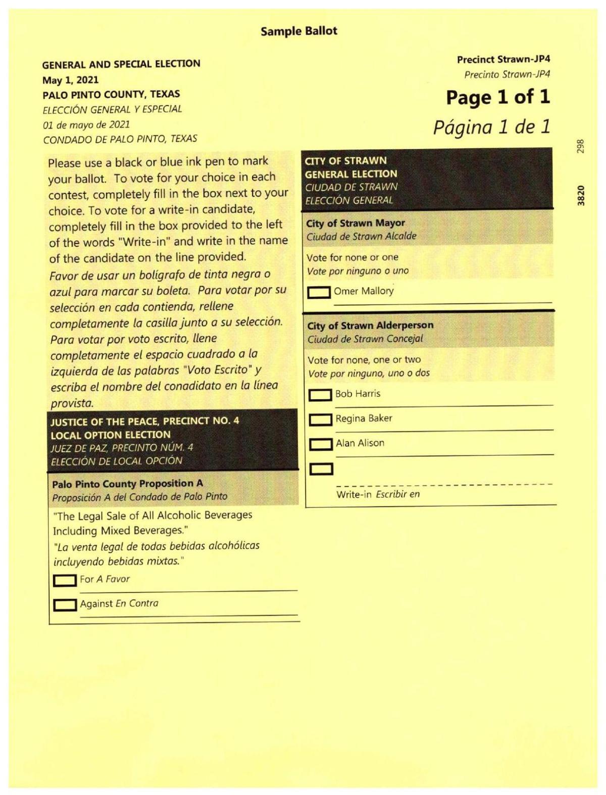 Palo Pinto County sample ballots