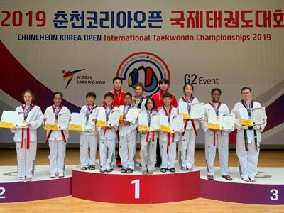 Local taekwondo students train, compete in South Korea