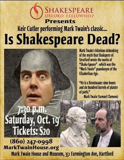 'Is Shakespeare Dead?' Find out at the Mark Twain House