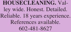 HOUSECLEANING. Valley wide. Honest. Detailed.