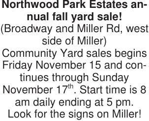 Northwood Park Estates annual fall yard sale!