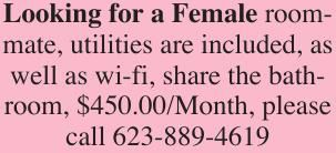 Looking for a Female roommate, utilities are included, as