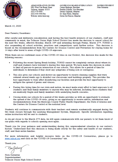tolleson district letter