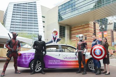 Blood donor to drive away a superhero with Volkswagen
