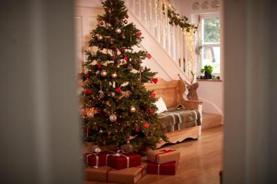 Hallway Of Home Decorated For Christmas With Tree And Presents Viewed Through Open Door