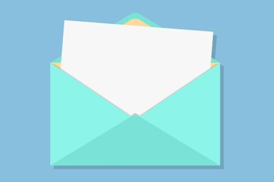 open envelope with white sheet
