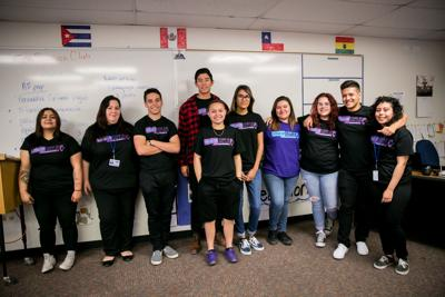 The Speak Up, Stand Up team. From left: Regina Akerson (age 17, a junior), Nicole Biscotti (teacher), Nicolas Contreras (age 17, a senior), Roque Deffenbaugh (age 17, a senior), Isabel Rubio (age 16, a sophomore), Joslyn Perez (age 17, a junior), Grace Martinez (age 16, a sophomore), Luz Sandoval (age 17, a junior), Sebastian Munoz (age 17, a junior), and Alexis Coronado (age 15, a sophomore).