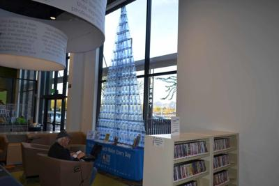 An interpretive water tower is on display through the month of September at the Coyote Library.
