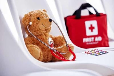 Medical concept of teddy bear with stethoscope