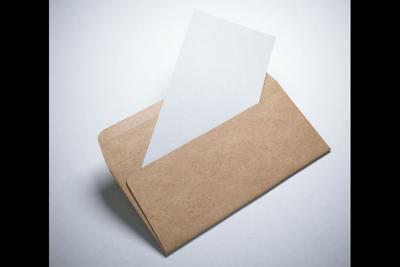 Kraft paper envelope with blank sheet