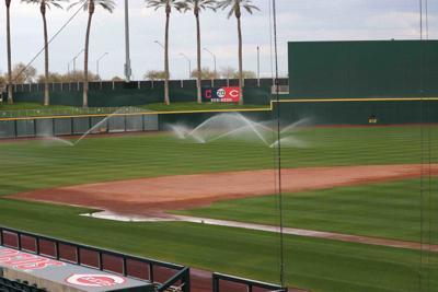sprinklers at Goodyear Ballpark