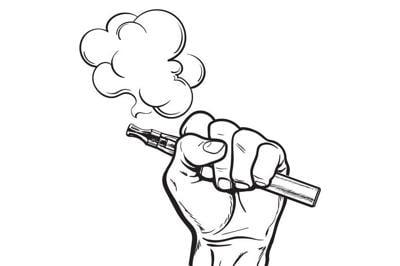 Male hand holding e-cigarette, electronic cigarette, vapor, smoke coming out