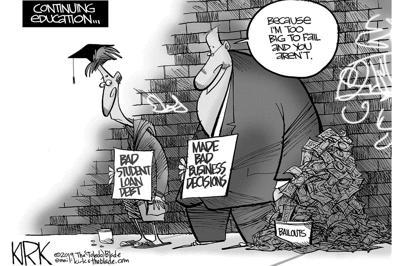 Cartoon bad student loan debt