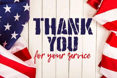 top view of american flags and thank you for your service lettering on white wooden surface