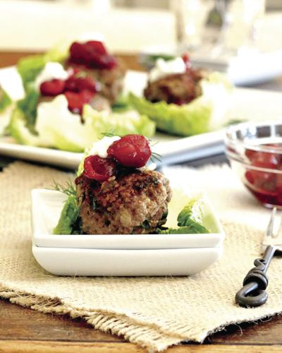 Spiced Meatball Lettuce Wraps With Cranberry and Dill