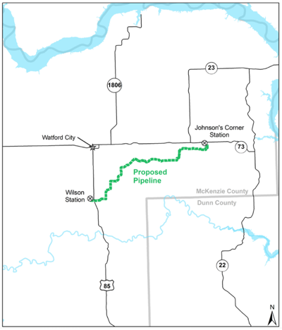 Map showing proposed transmission line