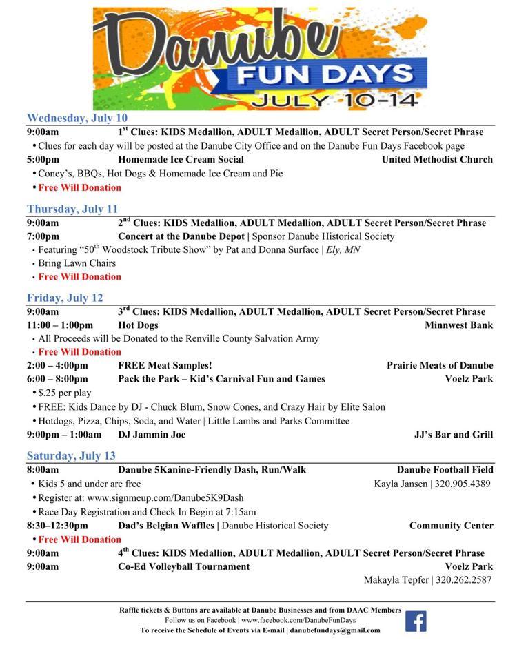 Danube Fun Days 2019 Wednesday July 10th Thru Sunday July 14