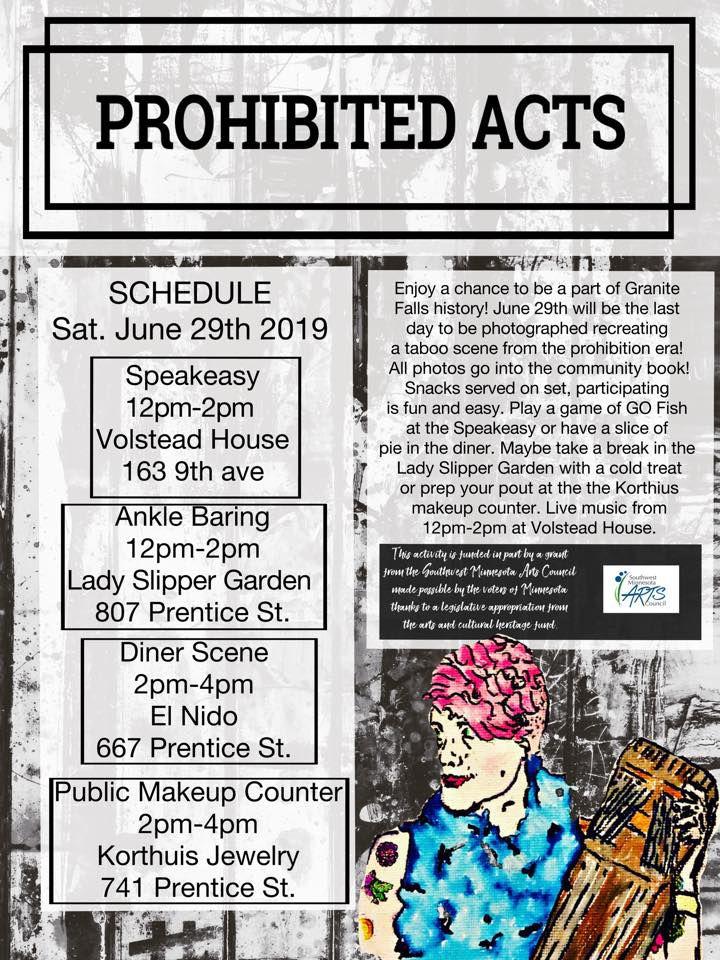 Volstead Days Projibited Acts Schedule