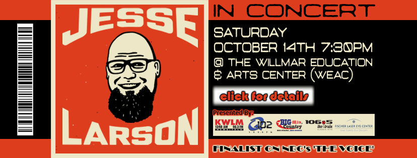 Jesse Larson is coming to Willmar's WEAC in October