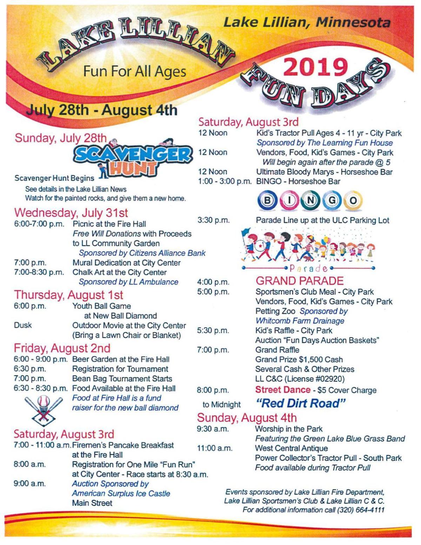 Lake Lillian Fun Days Schedule 2019