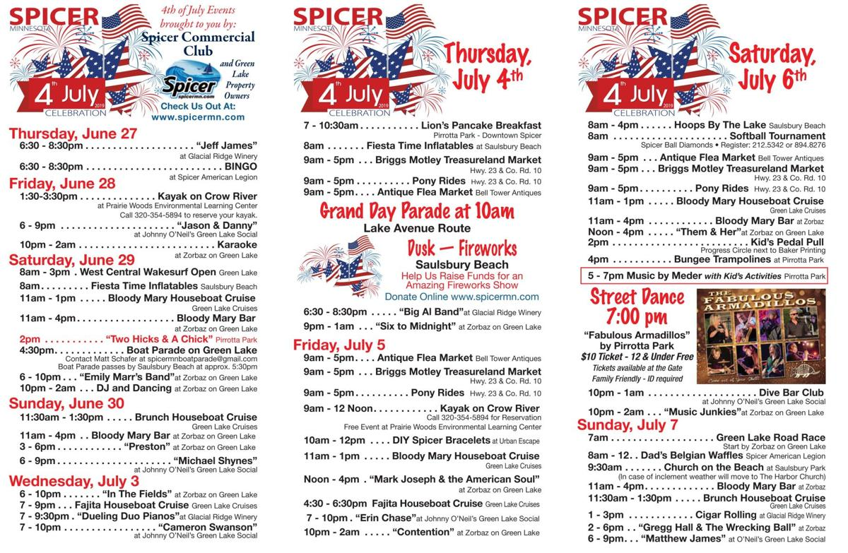 Spicer 4th of July Schedule 2019