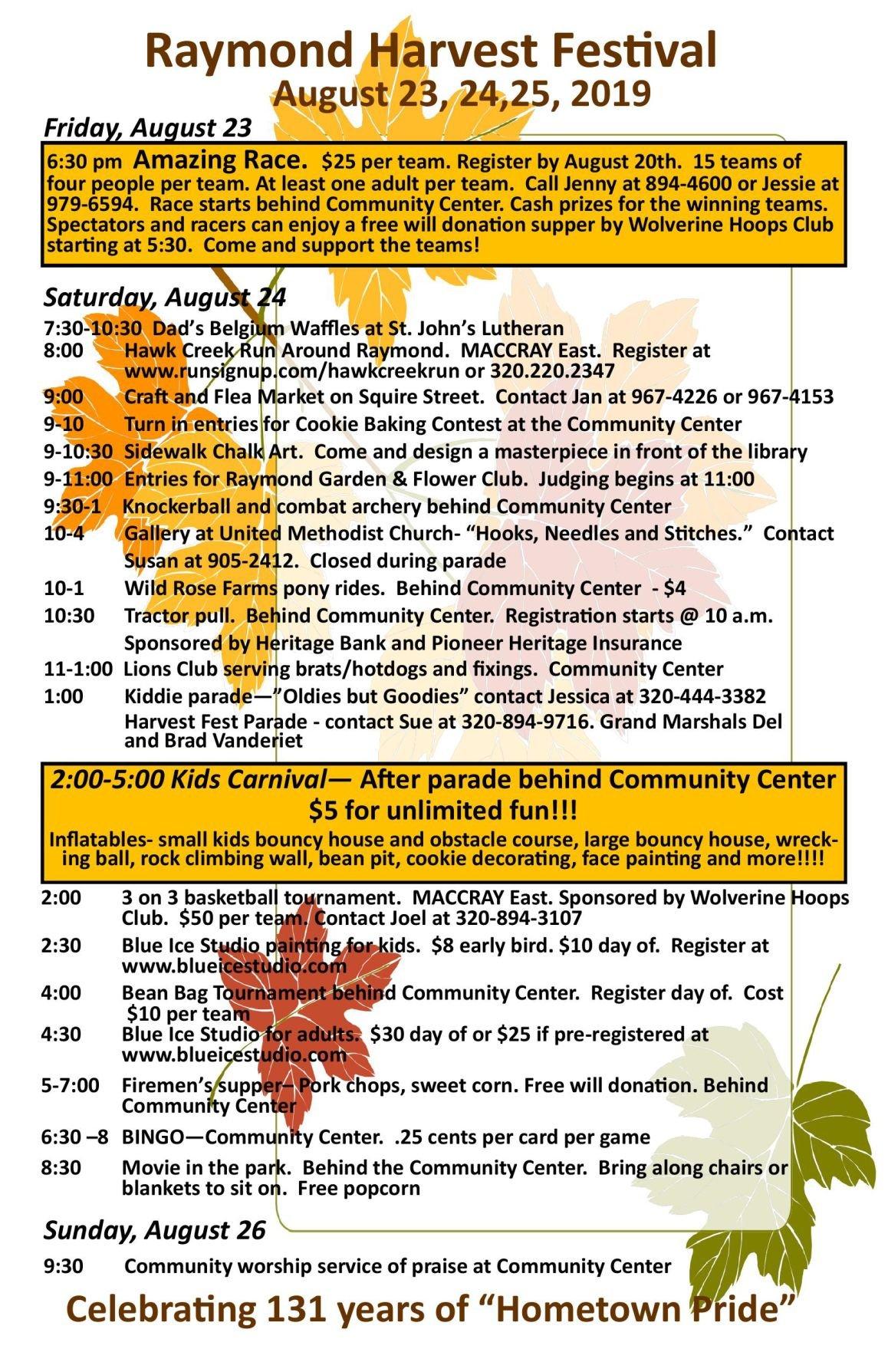 Raymond Harvest Festival Schedule 2019