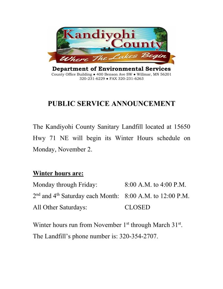 Sanitary Landfill Winter Hours