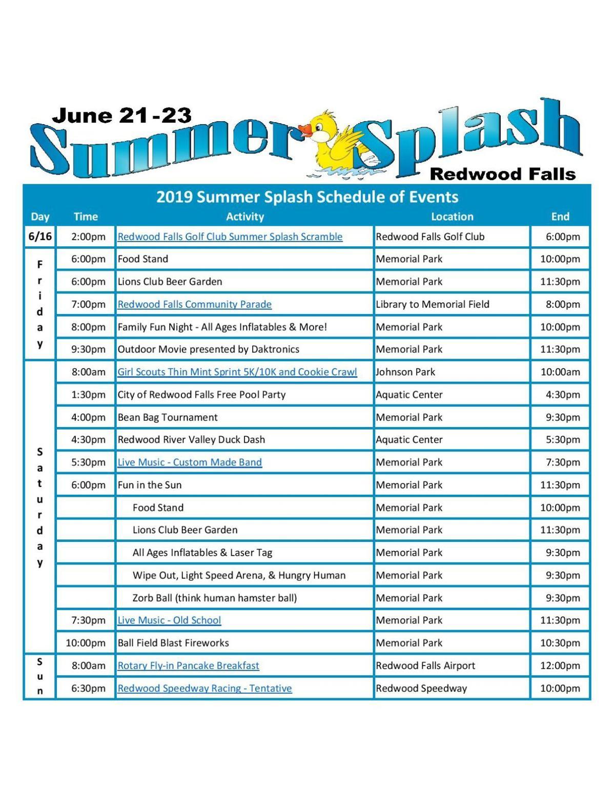 Summer Splash Schedule 2019
