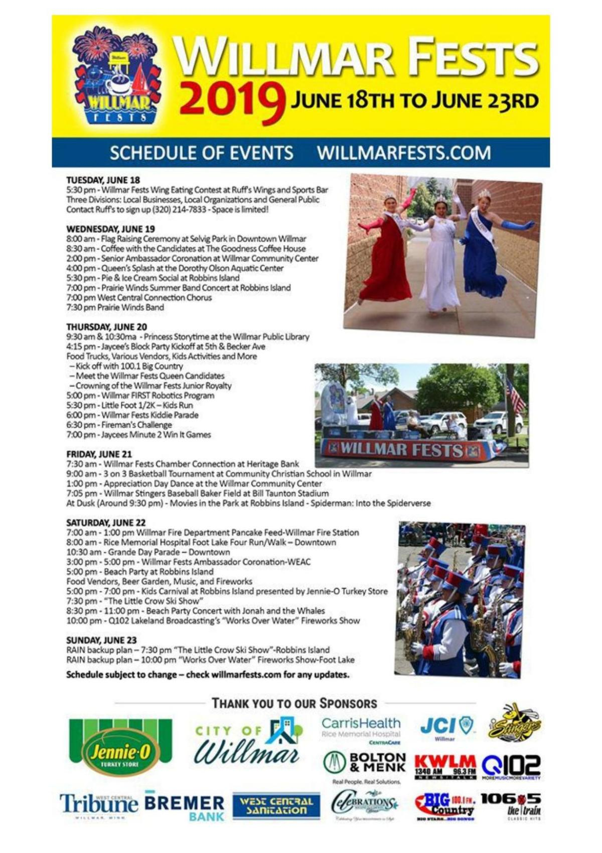 Willmar Fests 2019 Schedule