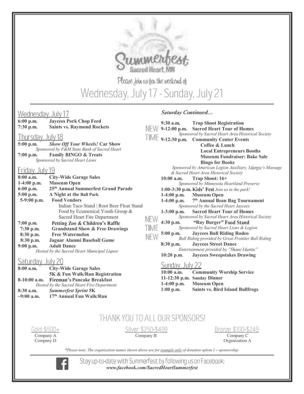Summerfest Schedule 2019
