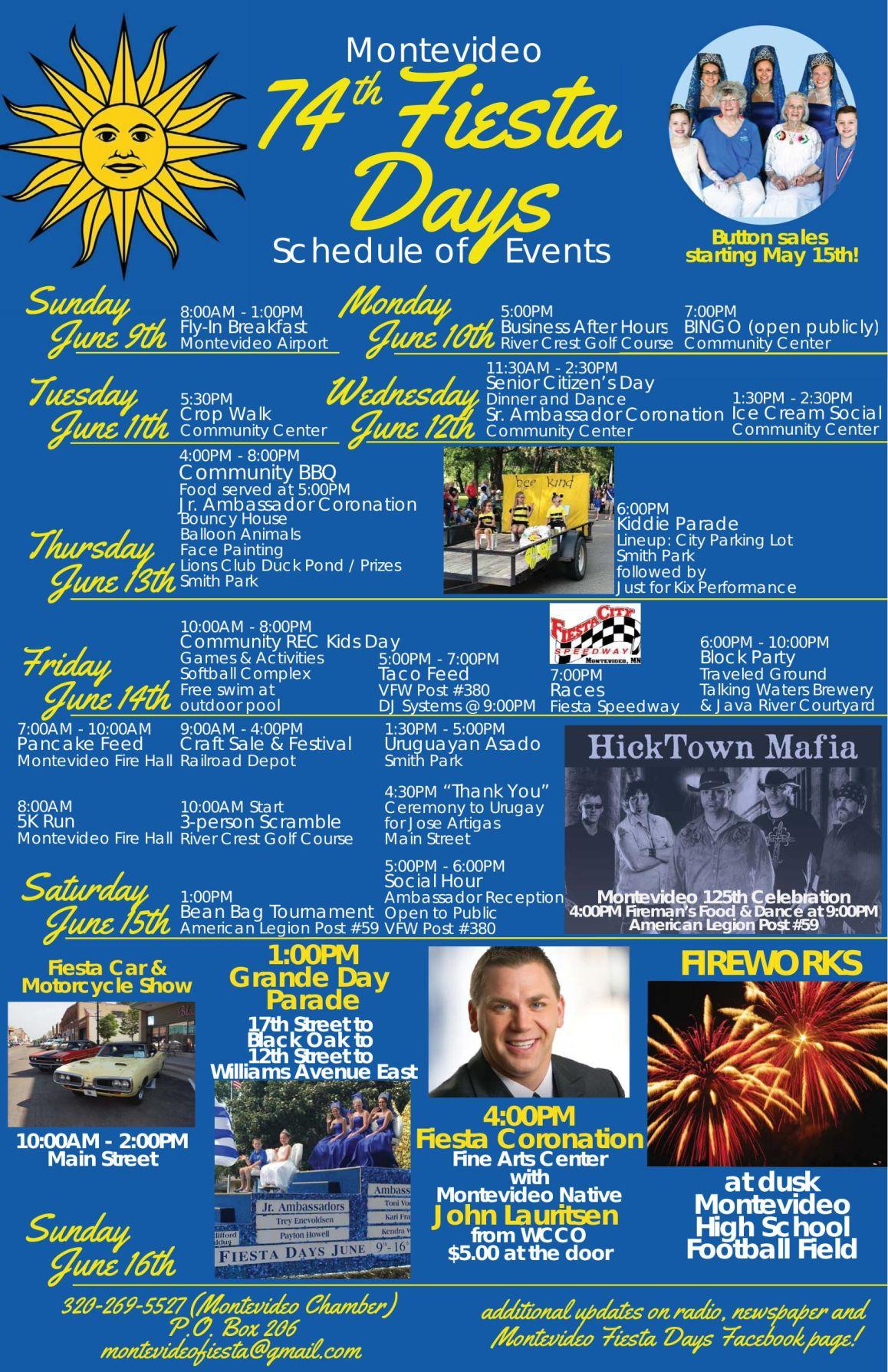 Montevideo Fiesta Days Schedule 2019