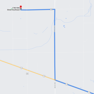 Map to Lindquist Dairy Farm