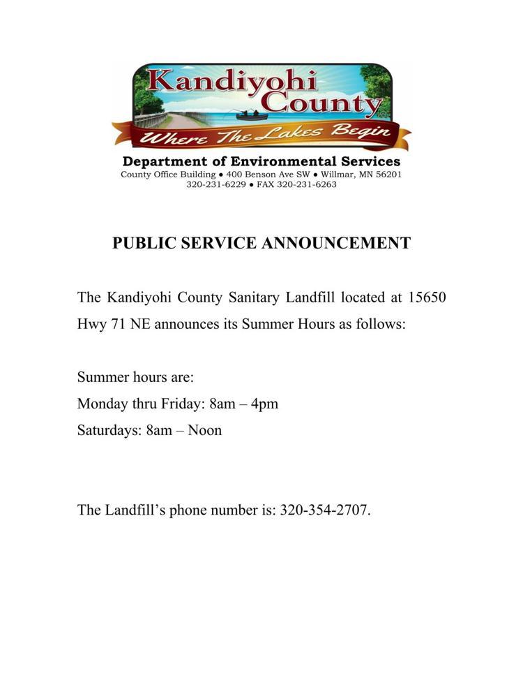 Landfill Summer Hours