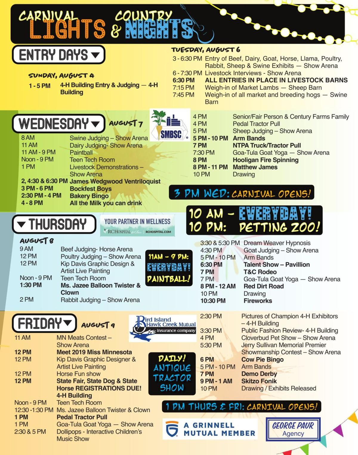 Renville County Fair Schedule 2019