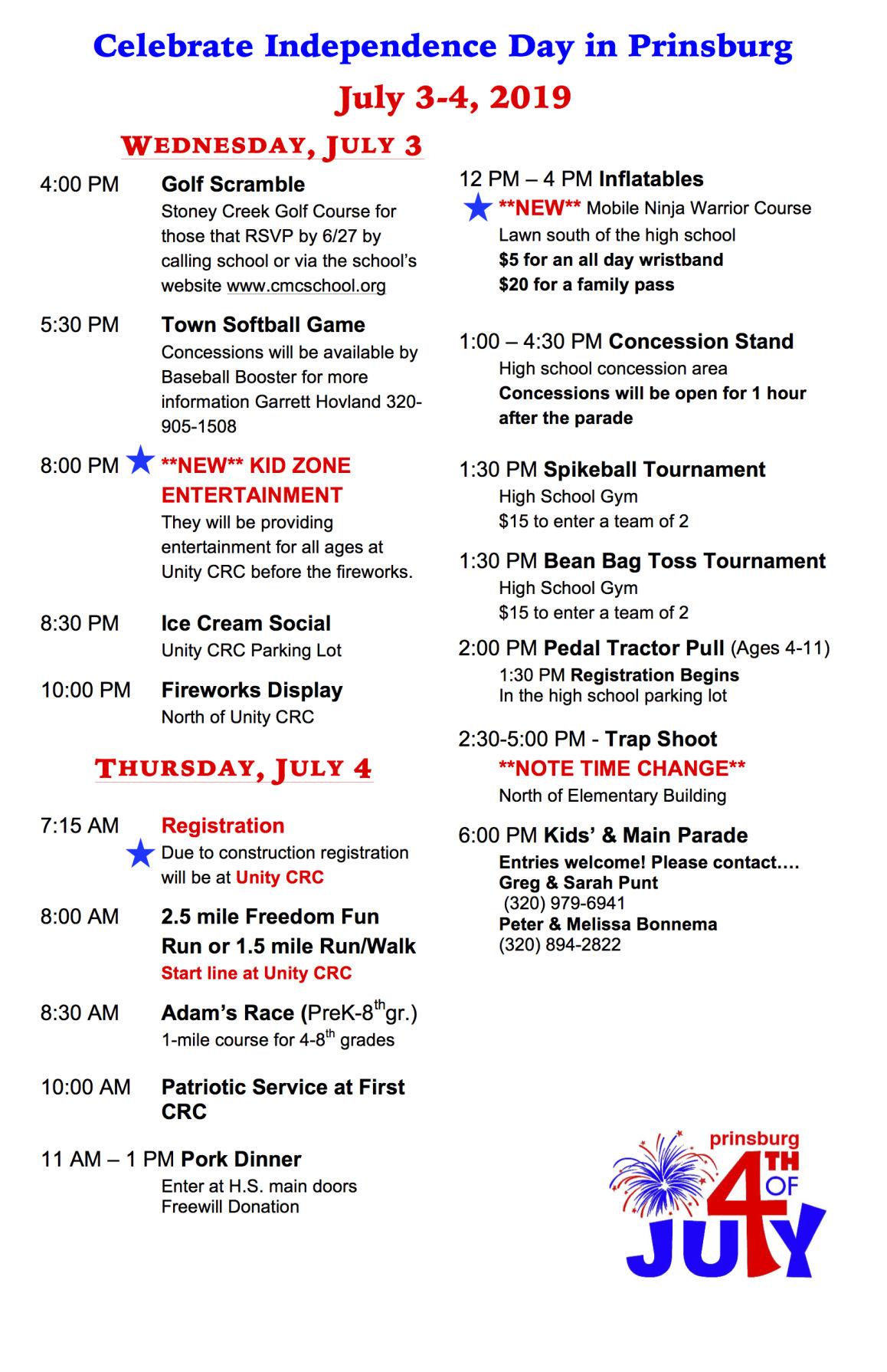 Prinsburg Schedule July 3 - 4