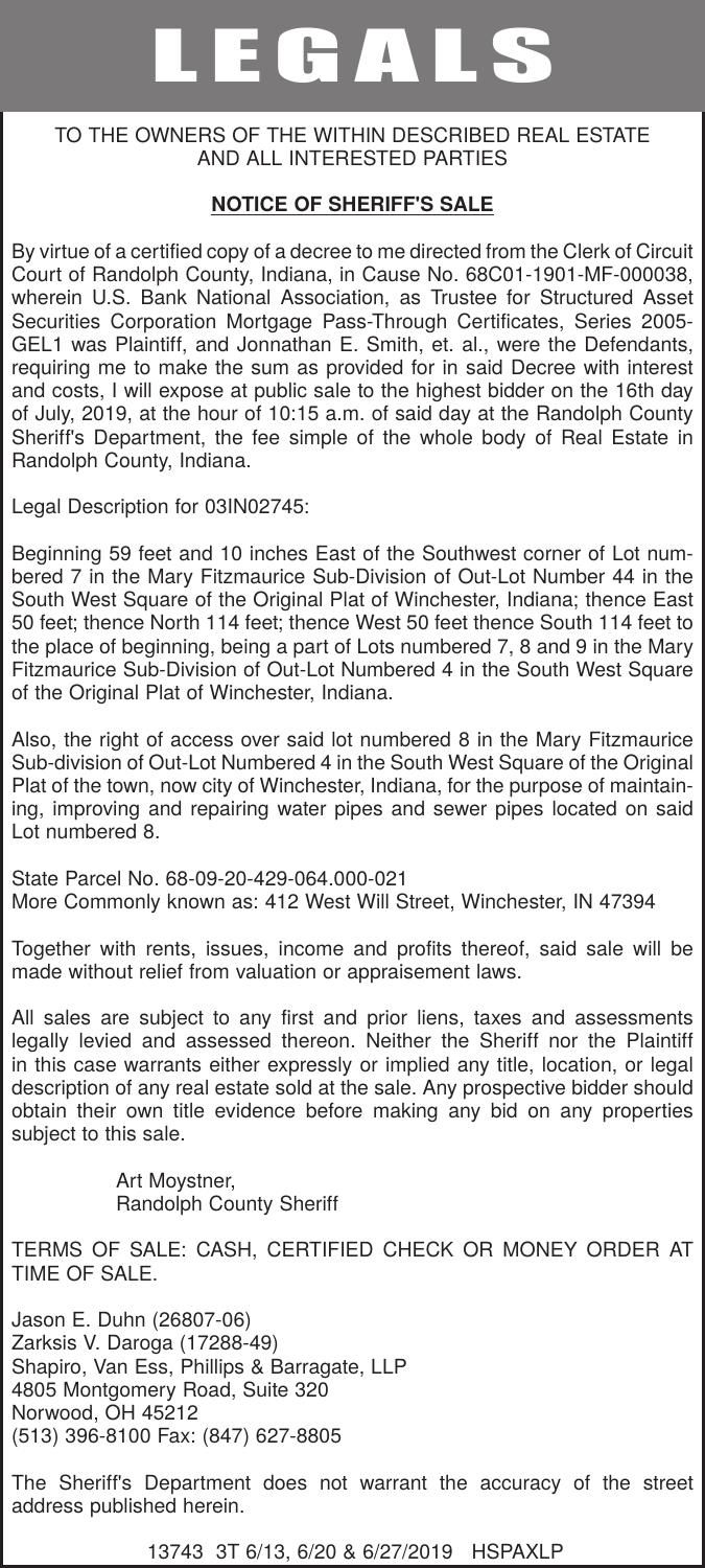 NOTICE OF SHERIFF'S SALE