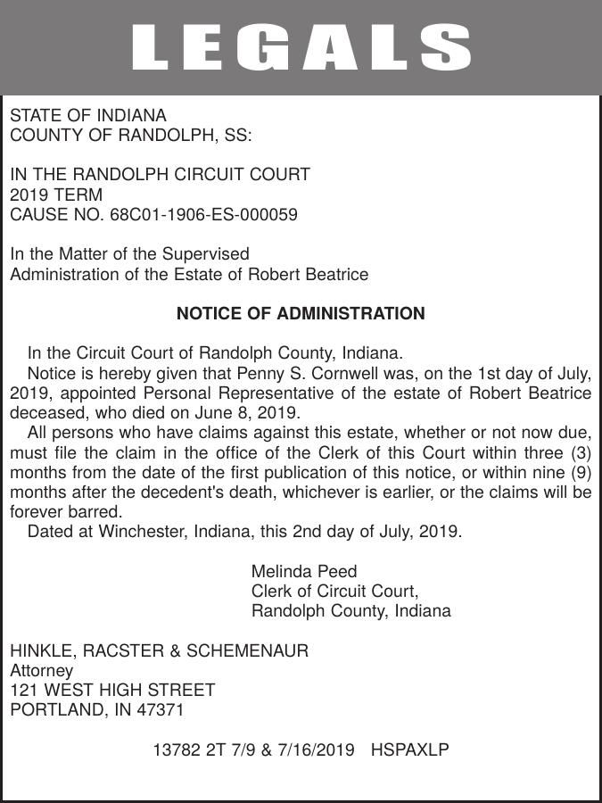 NOTICE OF ADMINISTRATION