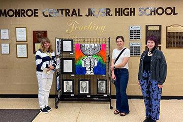 Monroe Central art teacher, Kristina Smiley, Abby Wagner and Raini Brocken, judges_WEB.jpg