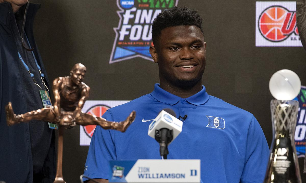 Duke's Zion Williamson was named Oscar Robertson Player of the Year and AP Player of the Year on Friday, April 5, 2019, at U.S. Bank Stadium in Minneapolis.