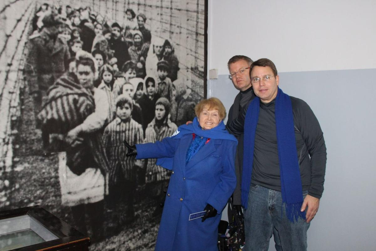 Eva Kor and Eric and Keith Steenlage at Auschwitz