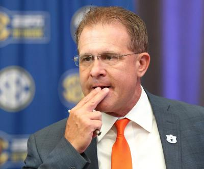 Auburn head coach Gus Malzahn holds his SEC Media Days press conference at the College Football Hall of Fame on Thursday, July 19, 2018, in Atlanta, Ga.
