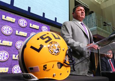 LSU head football coach Ed Orgeron holds his SEC Media Days news conference at the College Football Hall of Fame on July 16, 2018, in Atlanta, Ga.