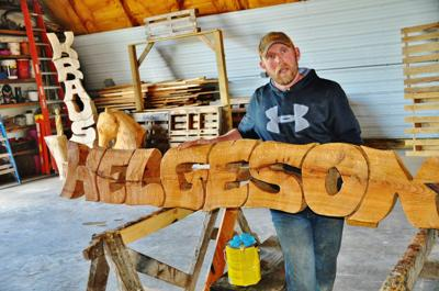 Name sign made from white pine