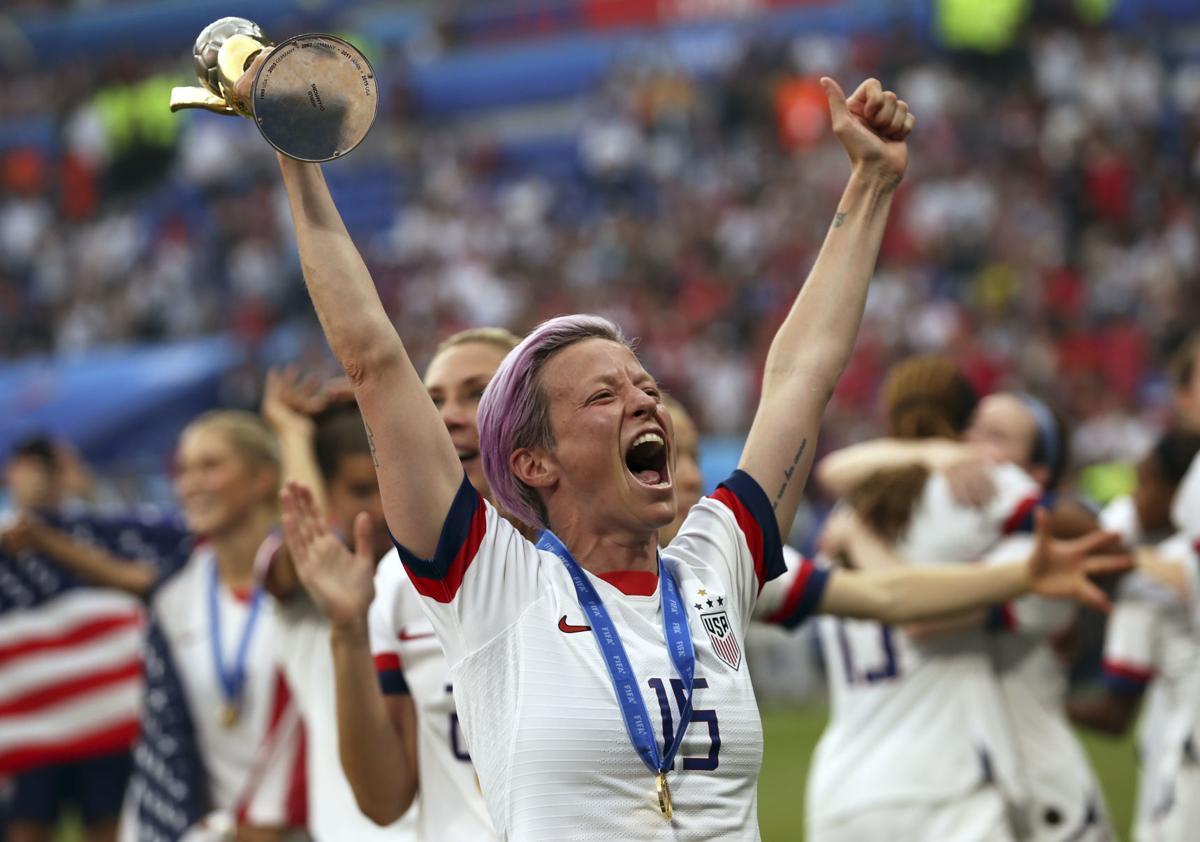 Megan Rapinoe celebrates