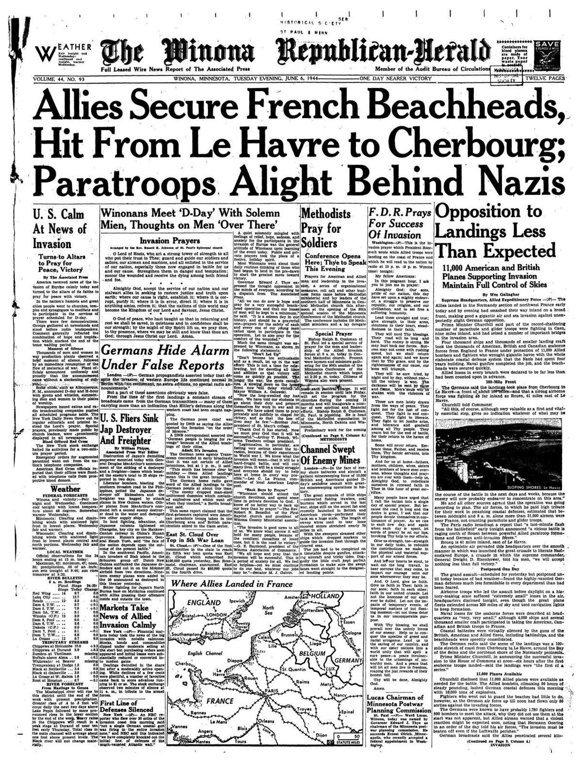 Read the June 6, 1944 edition of the Winona Republican-Herald