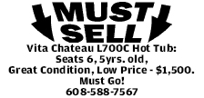 Vita Chateau L700C Hot Tub: Seats 6, 5yrs. old, Great