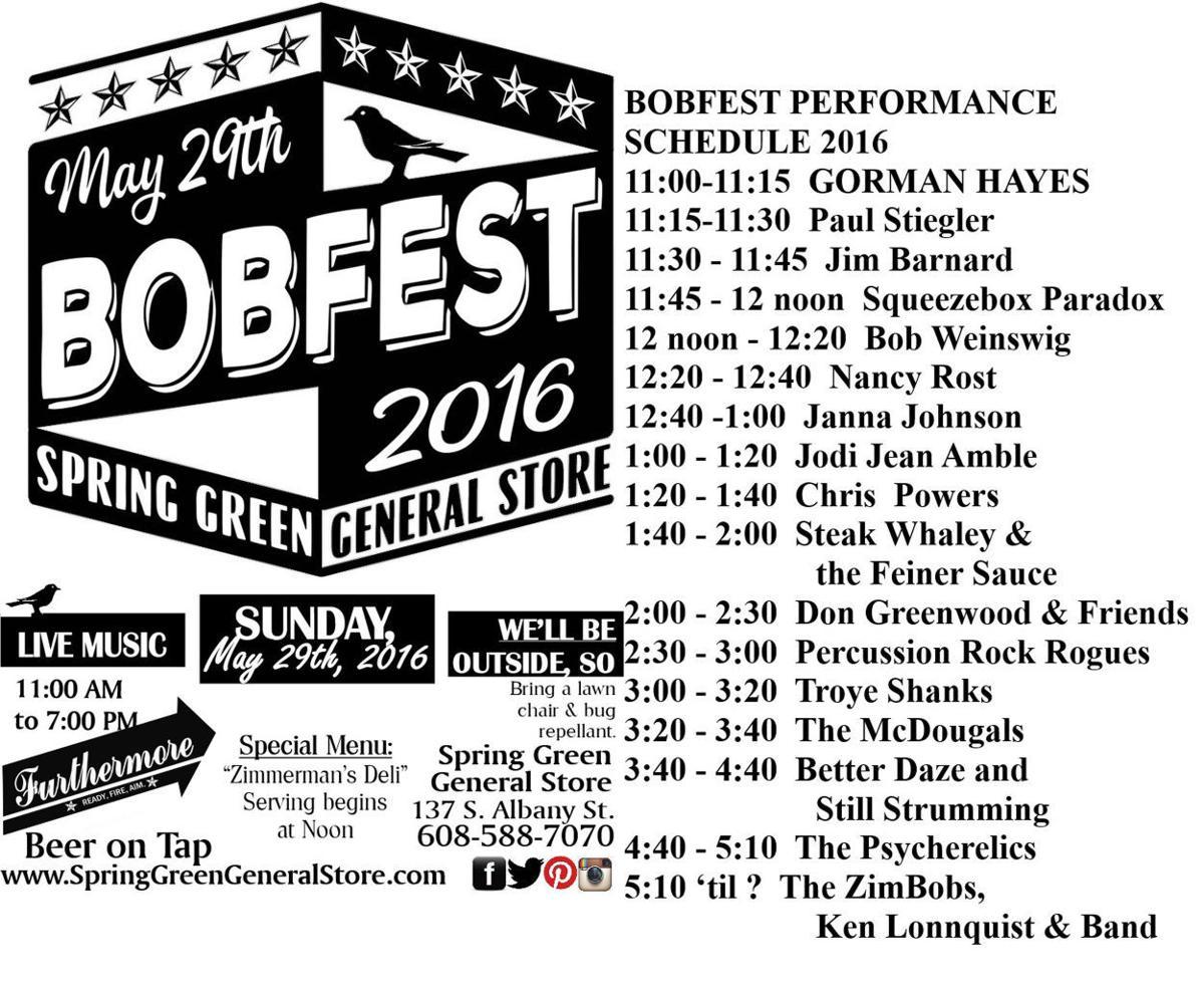 Bob Fest schedule